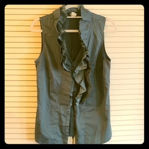 Teal blue button down short sleeve blouse w/button